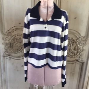 Striped cropped long sleeve polo